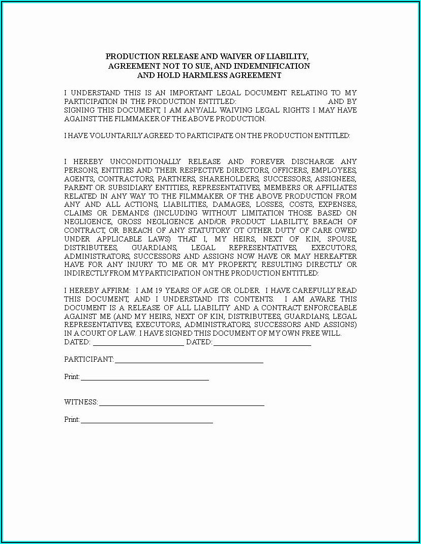 Release Of Liability Waiver Form Template