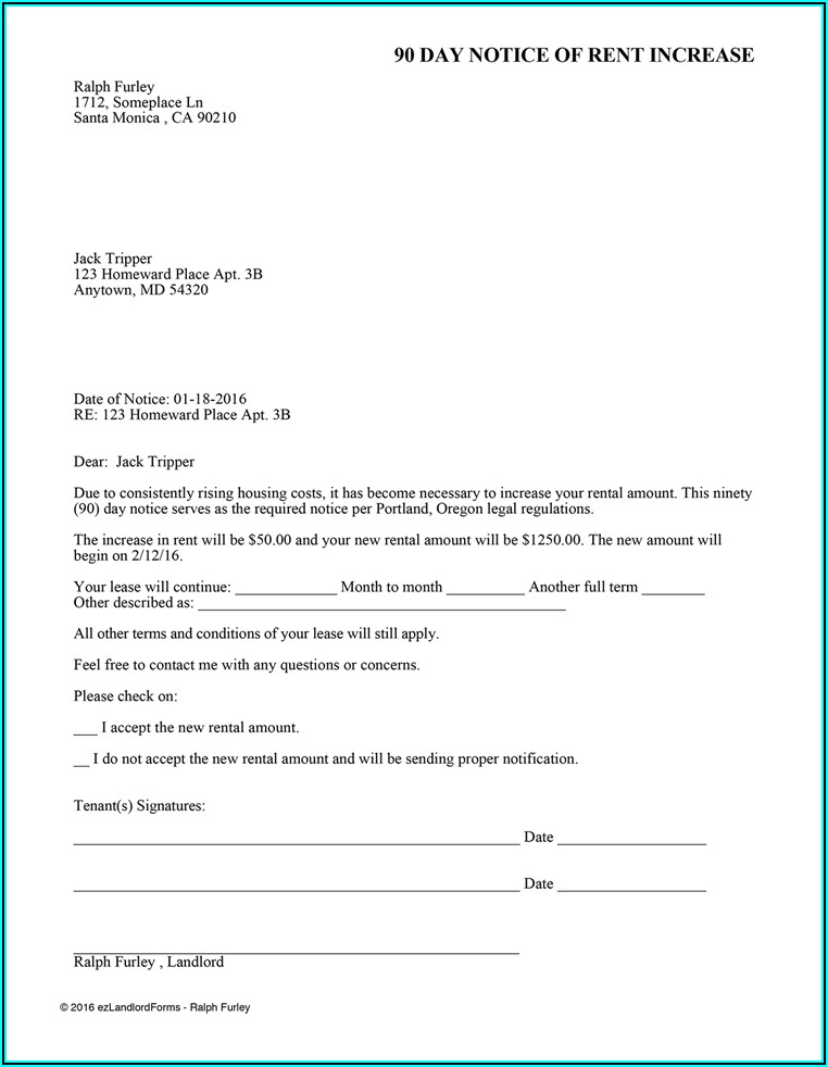 Rent Increase Notice Forms