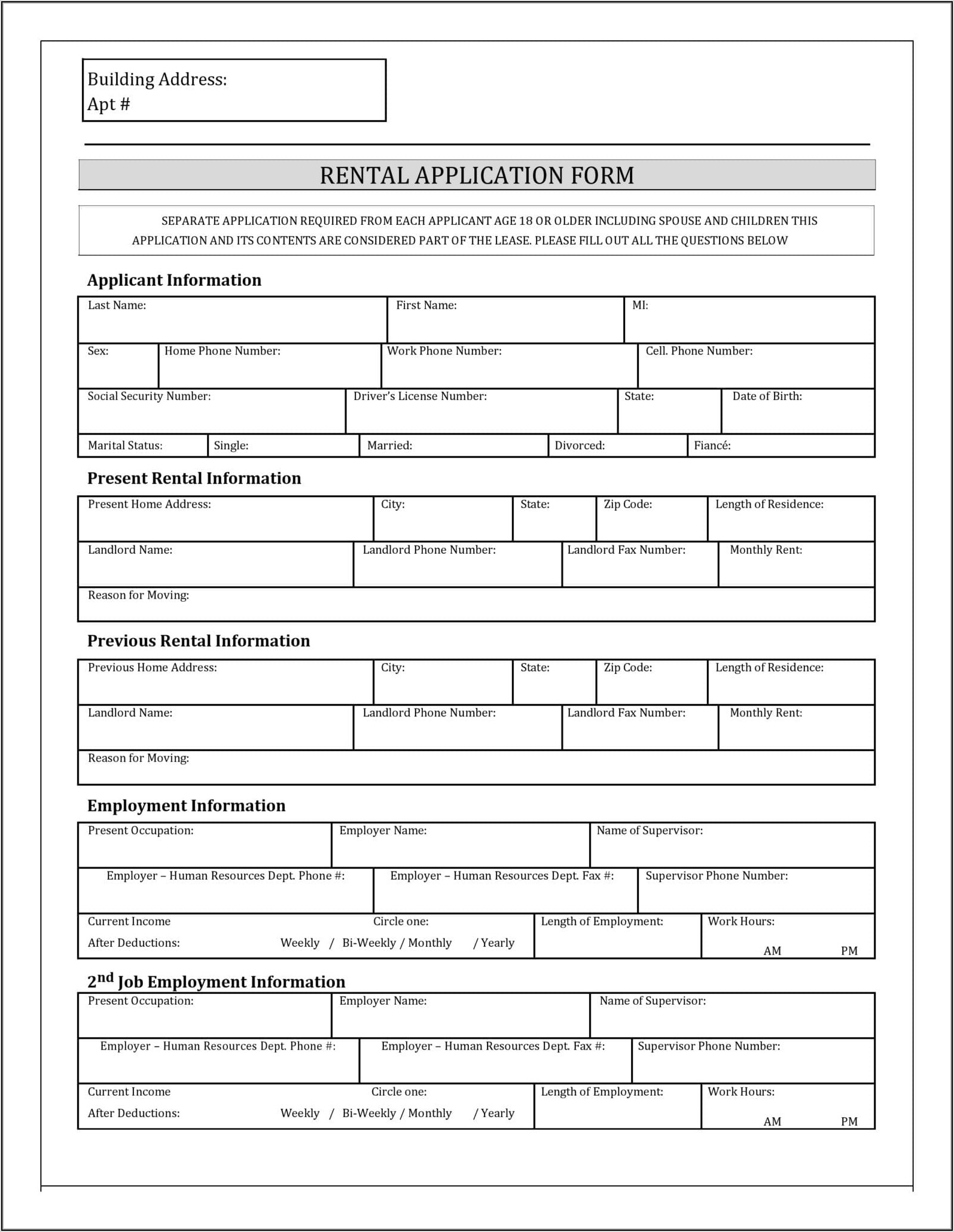 Rental Application Form Free Pdf