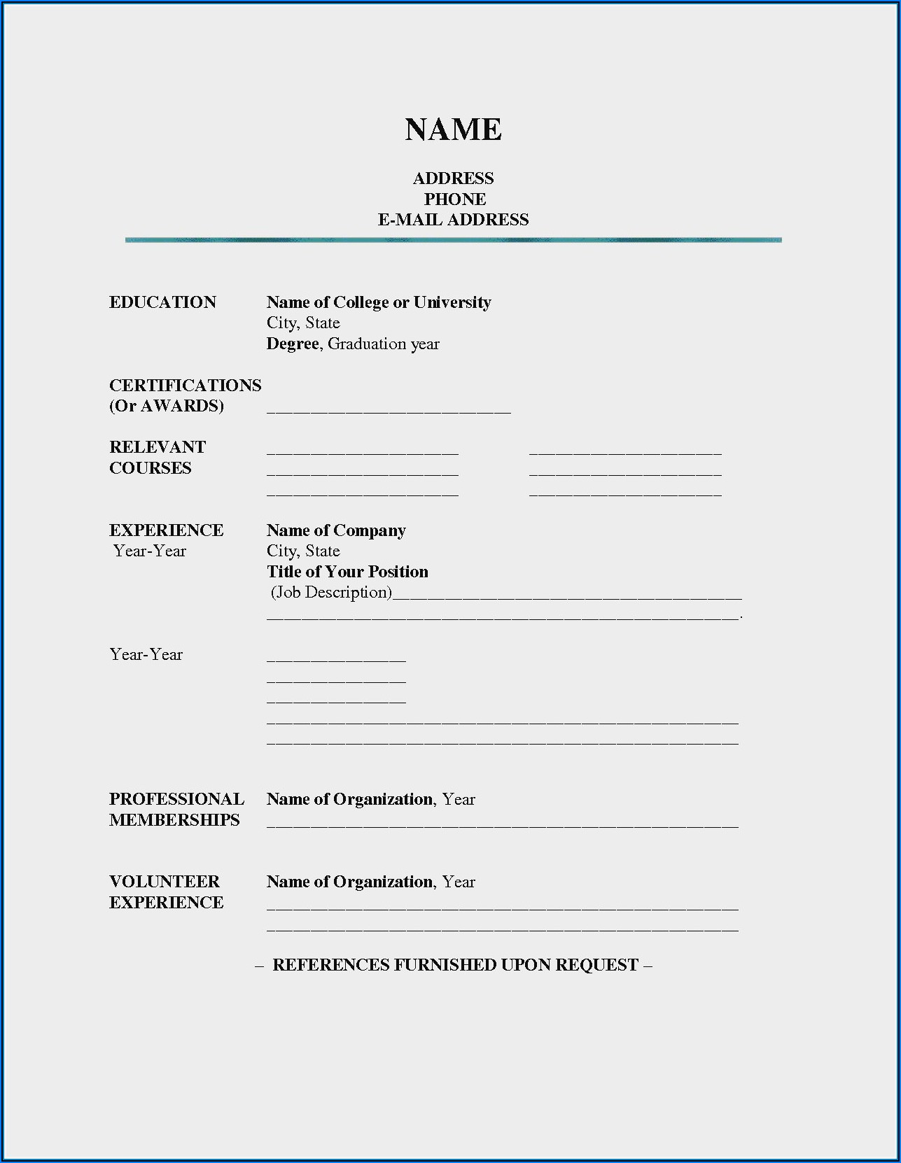 Resume Blank Form Sample