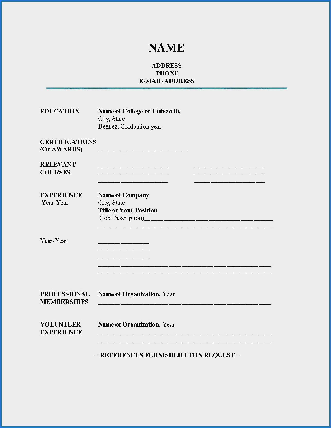 Resume Blank Form Sample