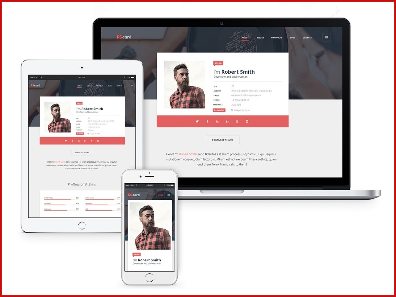 Resume Website Template Free Download