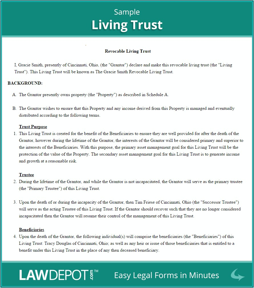 Revocable Living Trust Form Ohio