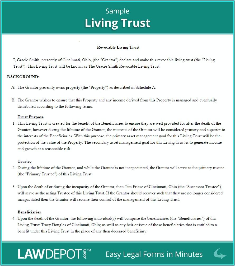Revocable Living Trust Form Ohio