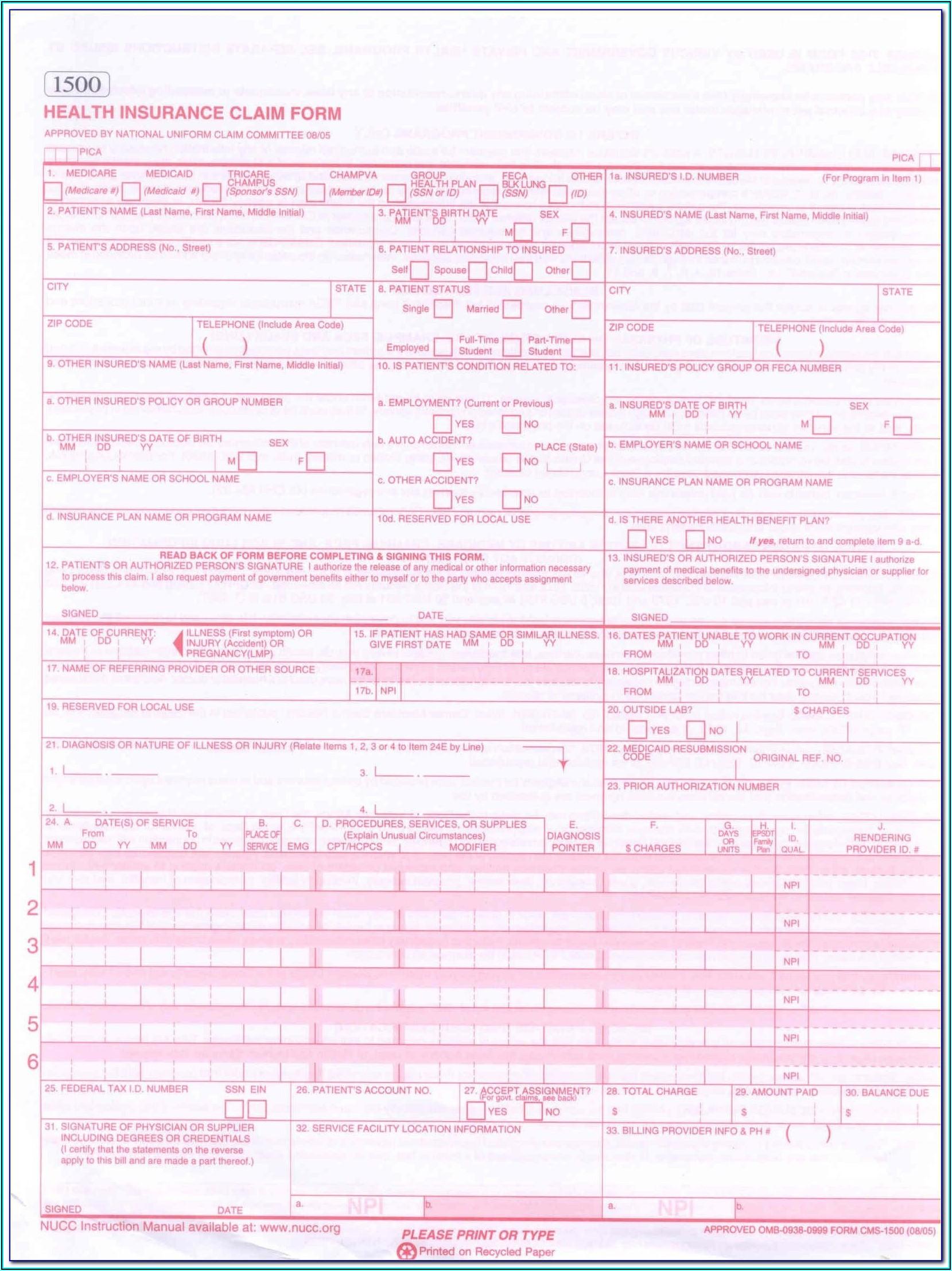 Sample Cms 1500 Claim Form Medicare