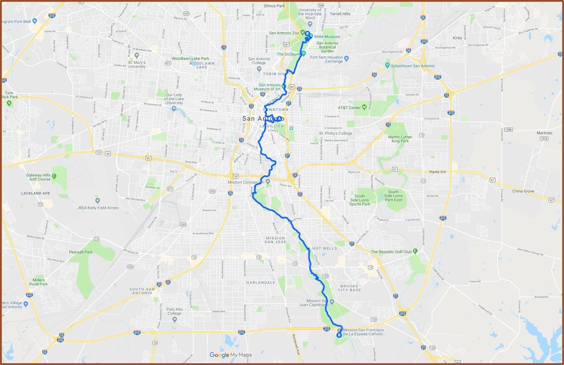 San Antonio Riverwalk Map Of Hotels And Restaurants