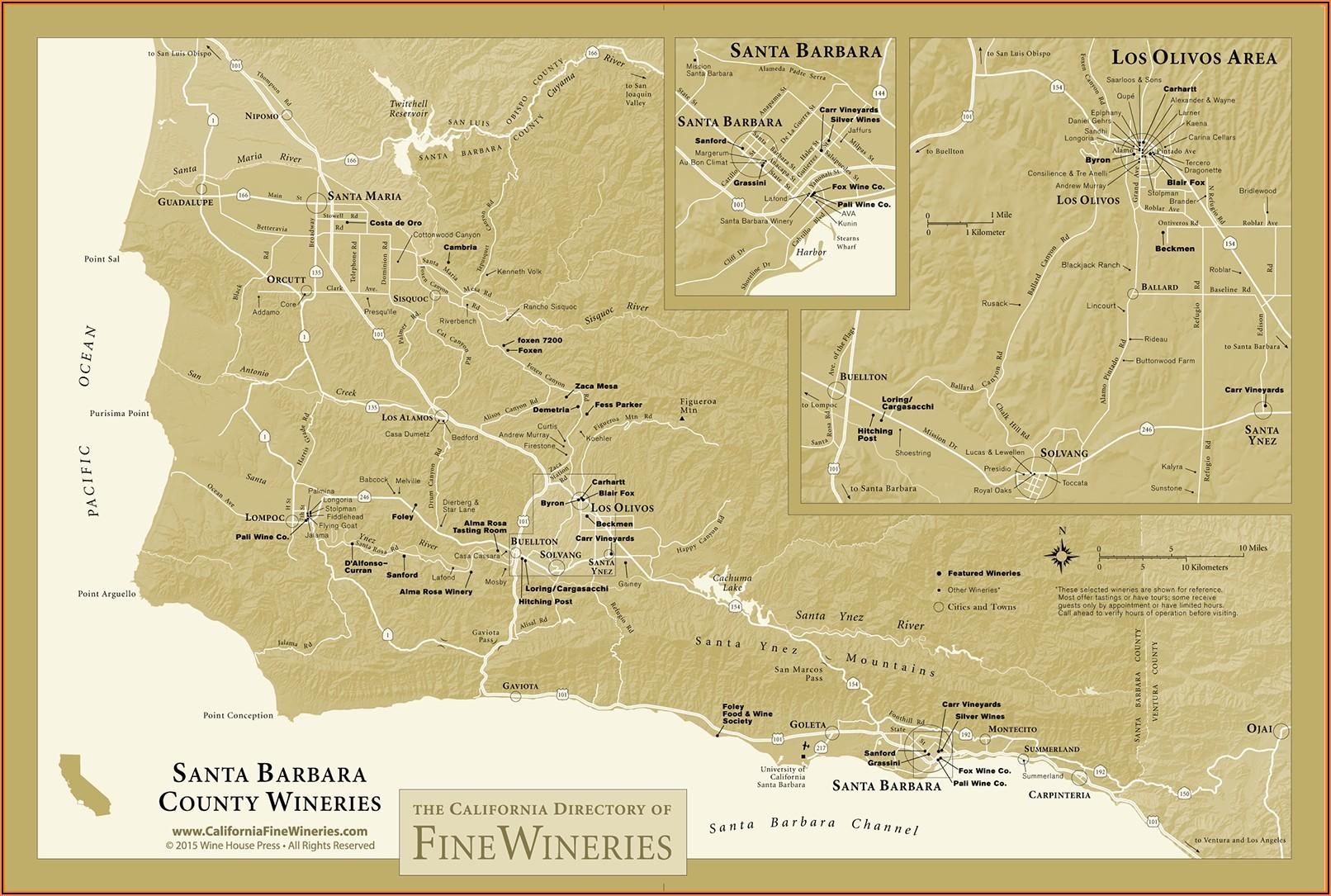 Santa Barbara County Wine Tasting Map