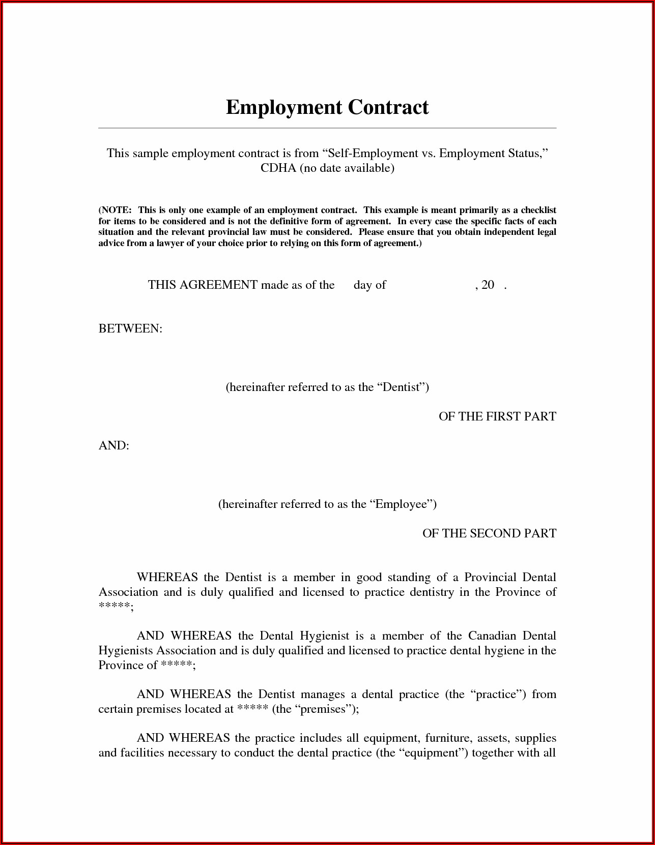 Self Employed Contractor Agreement Template