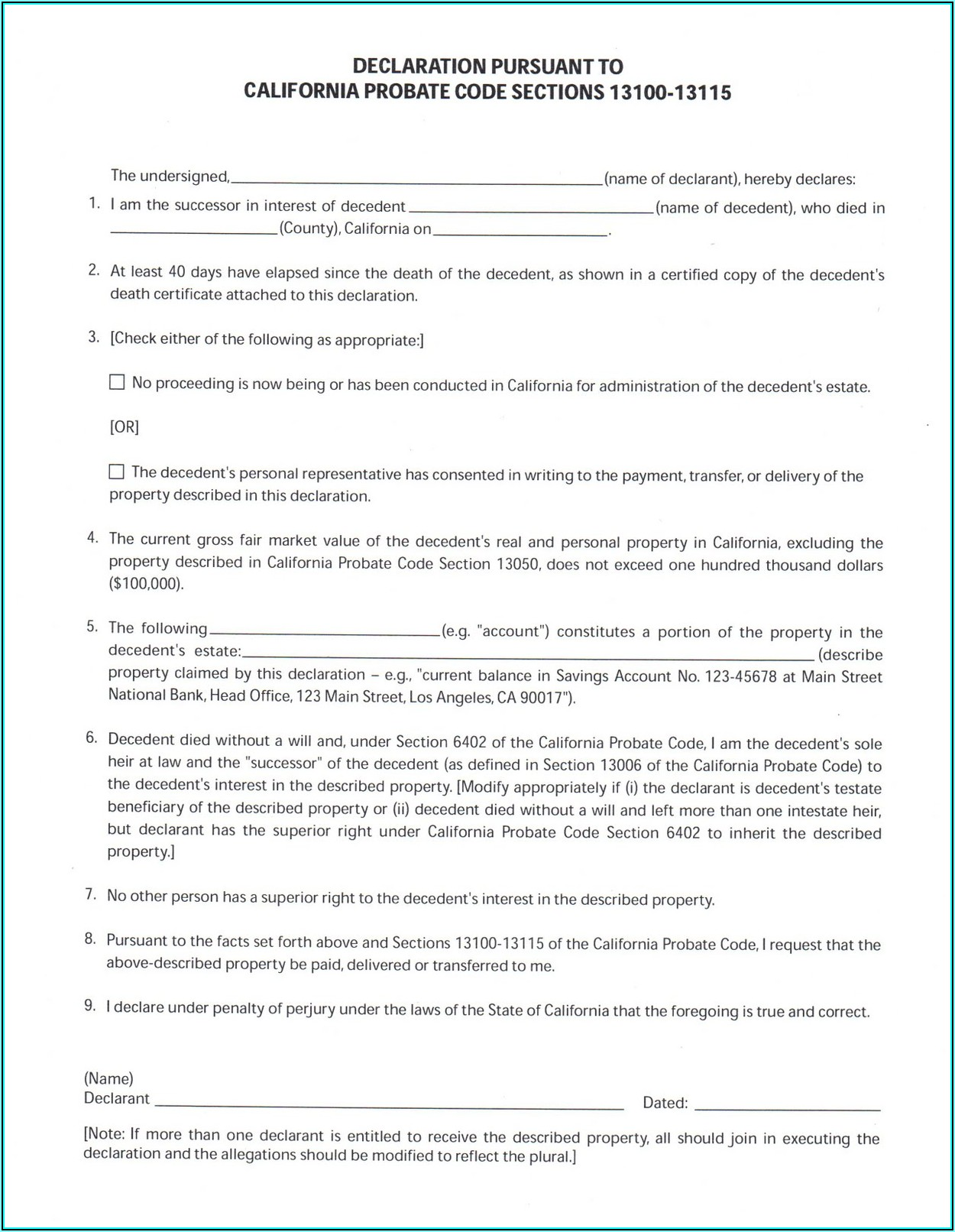 Small Estate Affidavit Ca Form
