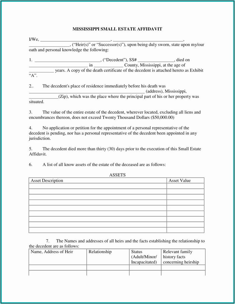 Small Estate Affidavit Form California Free
