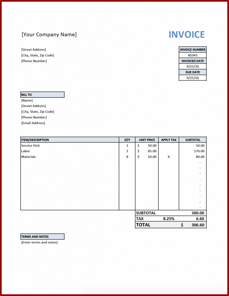 Software Contractor Invoice Template