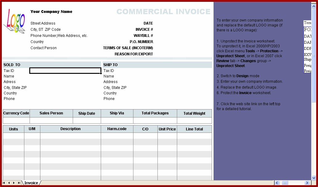 Software Invoice Template Excel