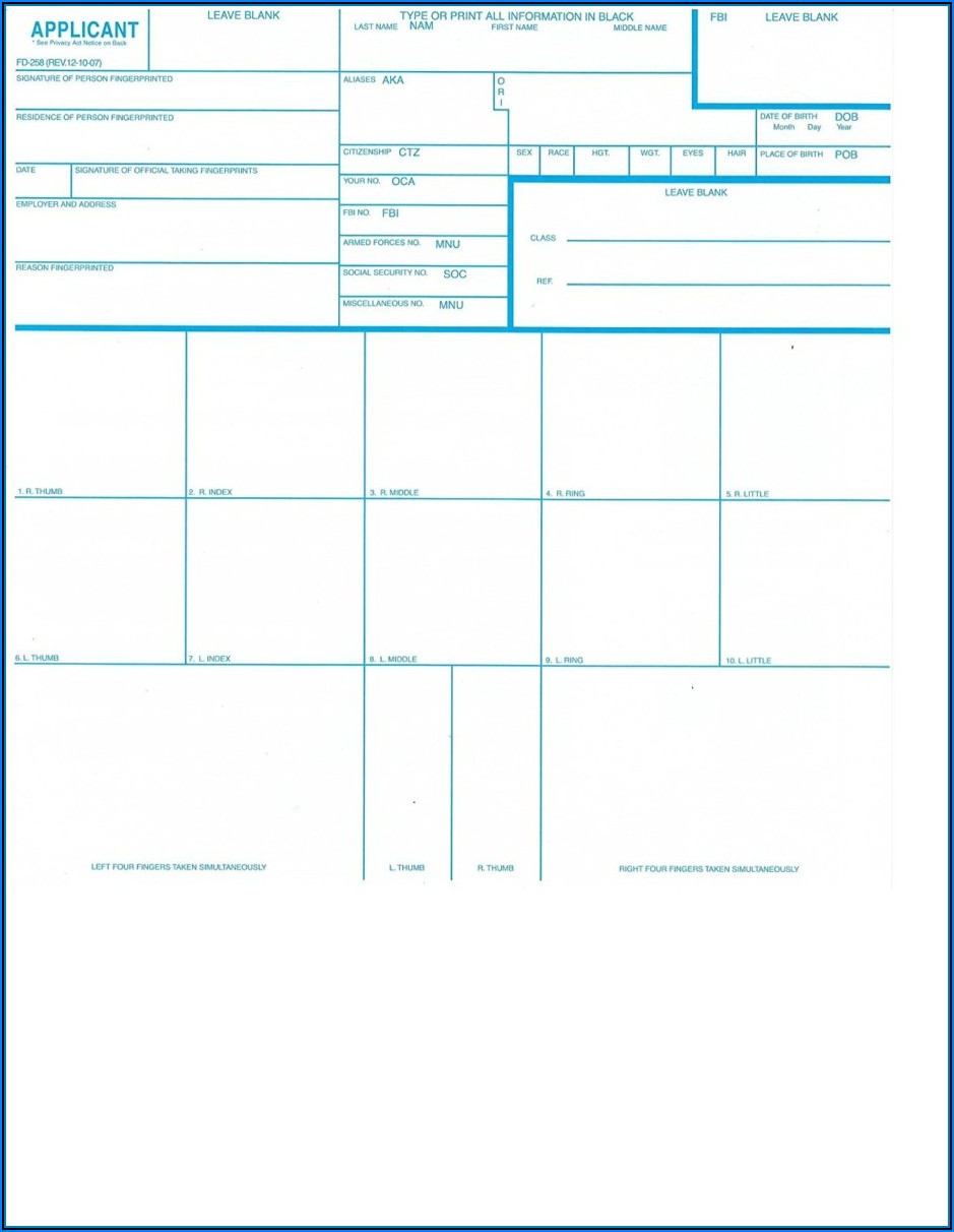 Standard Fbi Fingerprint Card Form Fd 258