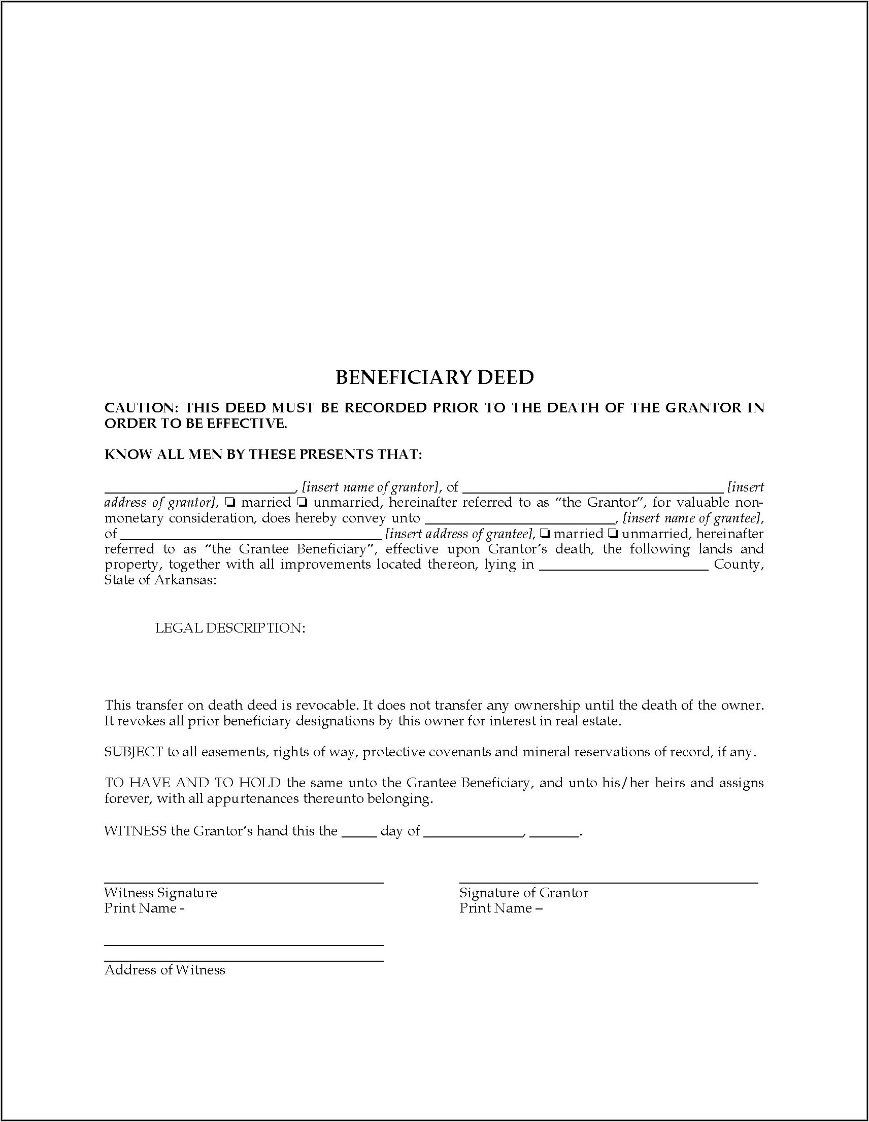 State Of Oregon Transfer On Death Deed Form
