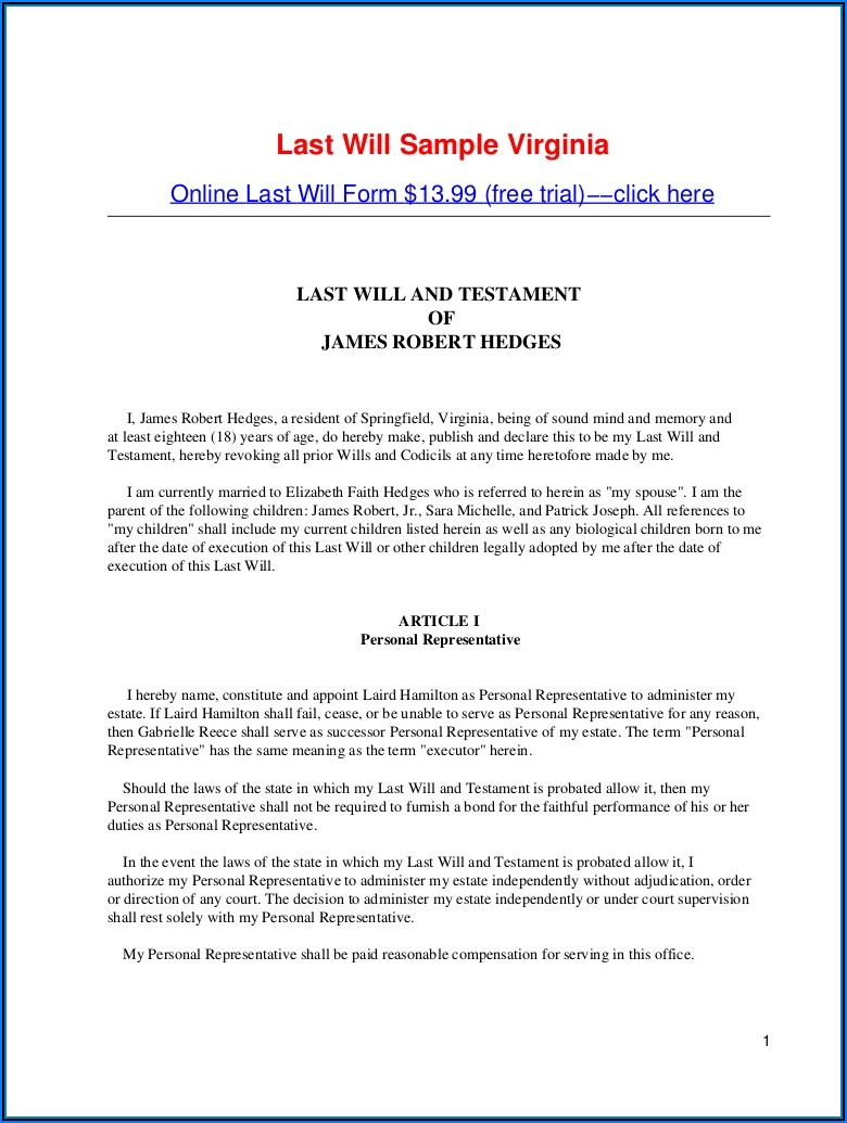 State Of Texas Last Will And Testament Form