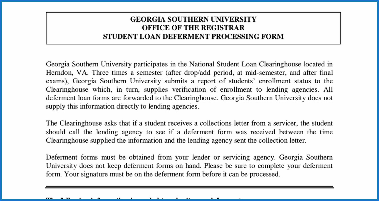 Student Loan Deferment Form Pdf