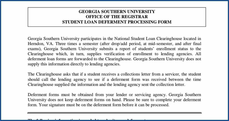 Student Loan Deferment Form Pdf