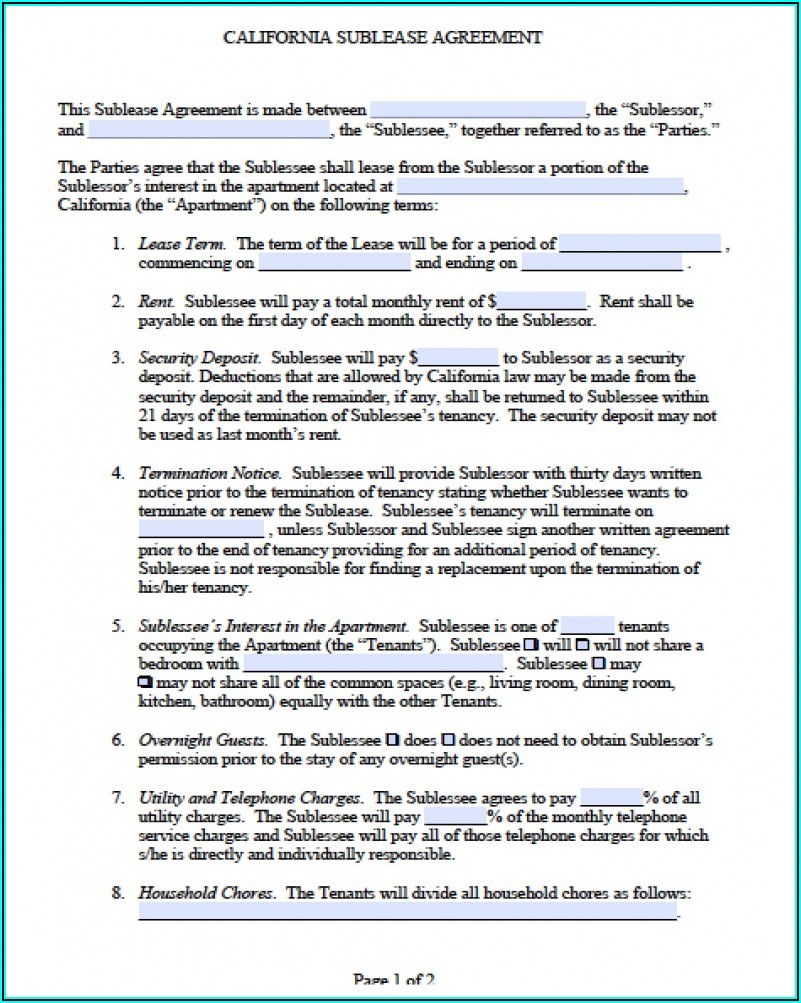 Sublease Contract Form Free Download