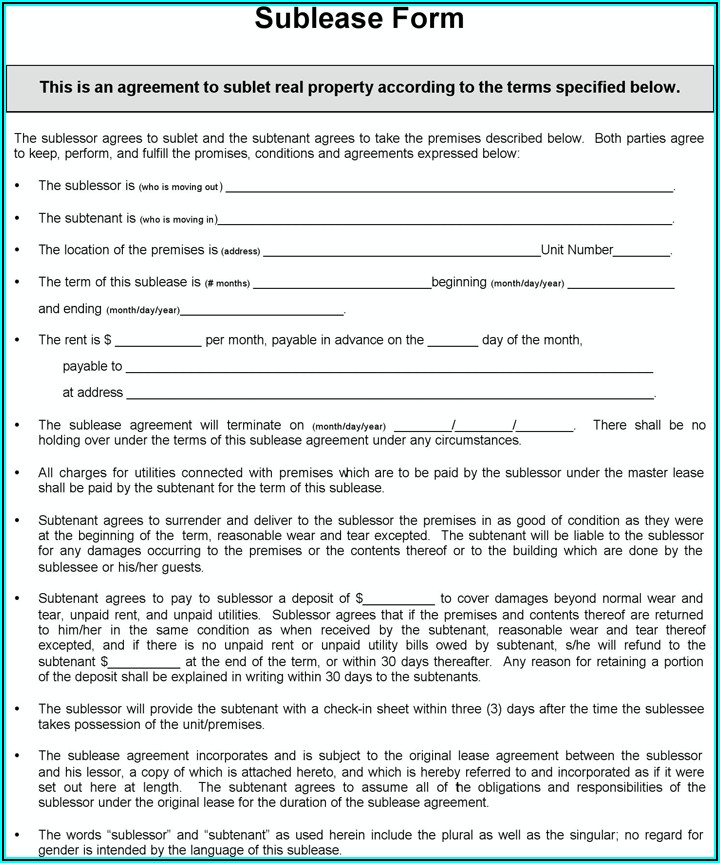 Sublease Form