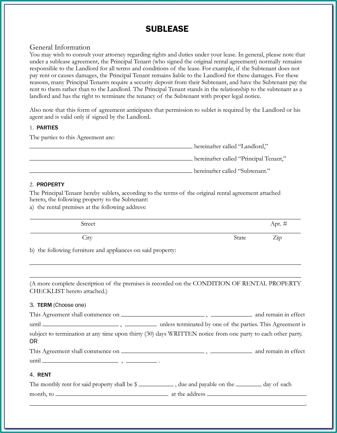 Sublet Lease Form