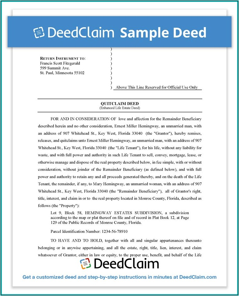 Survivorship Deed Form Florida