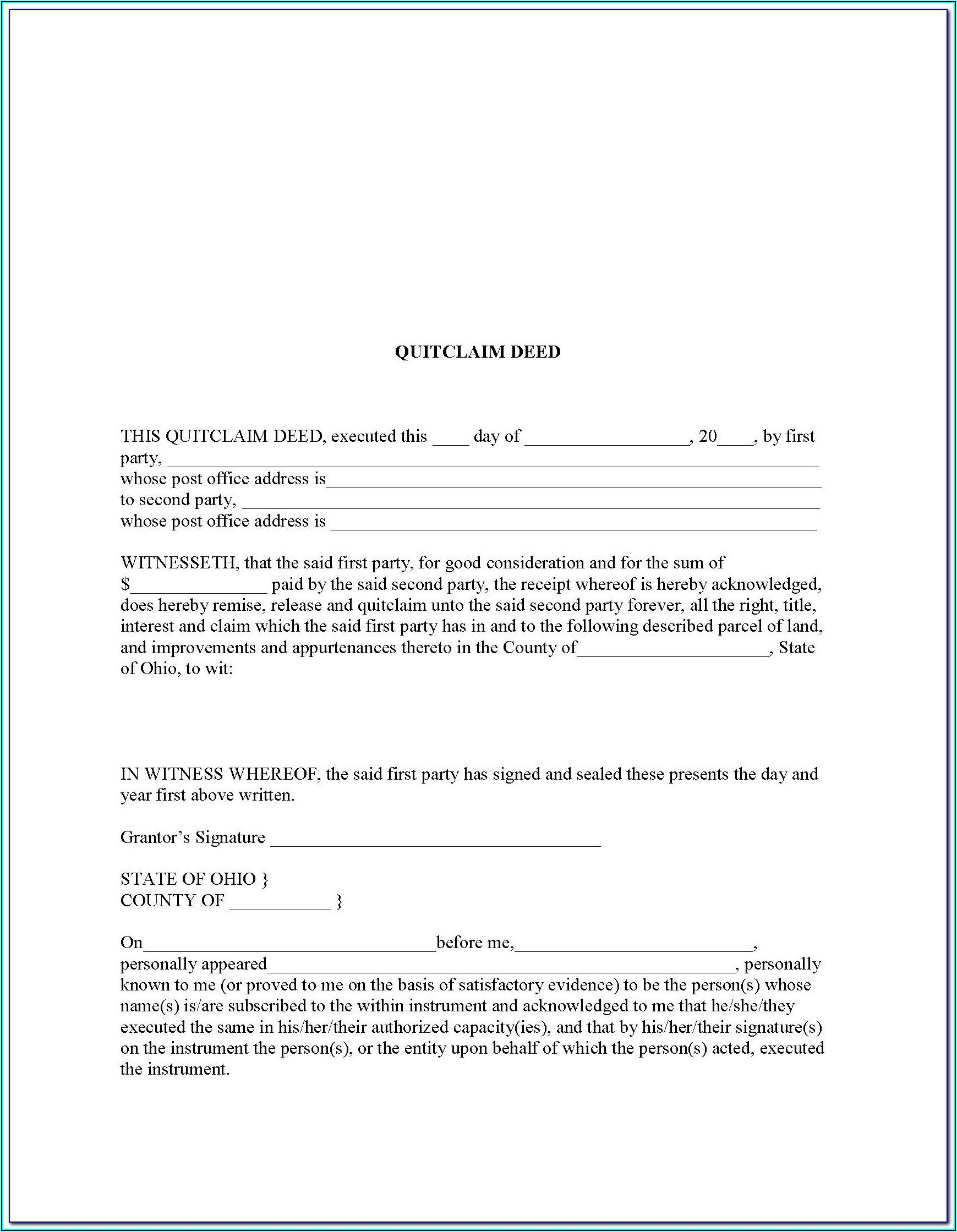 Survivorship Deed Form Ohio
