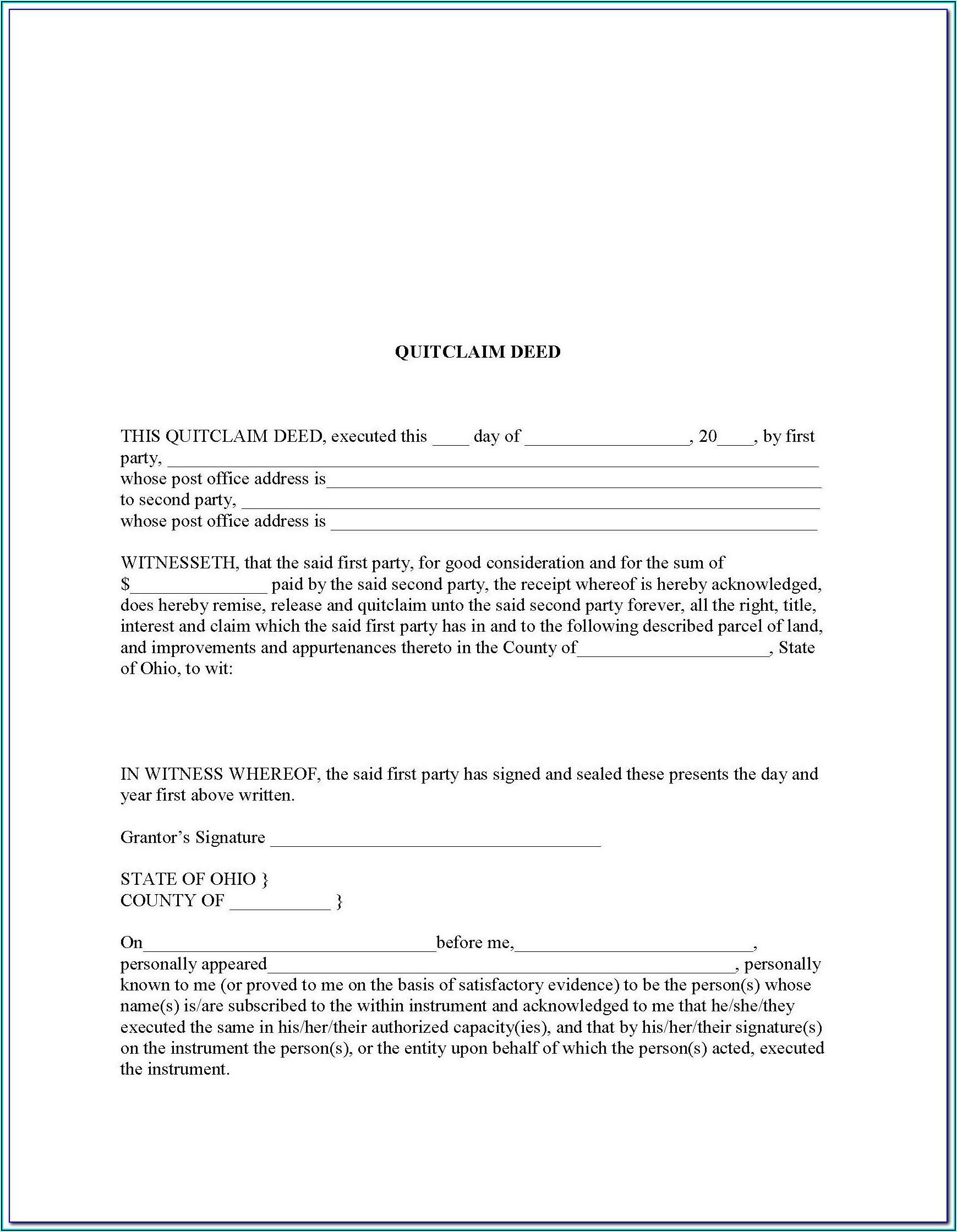 Survivorship Deed Form Ohio