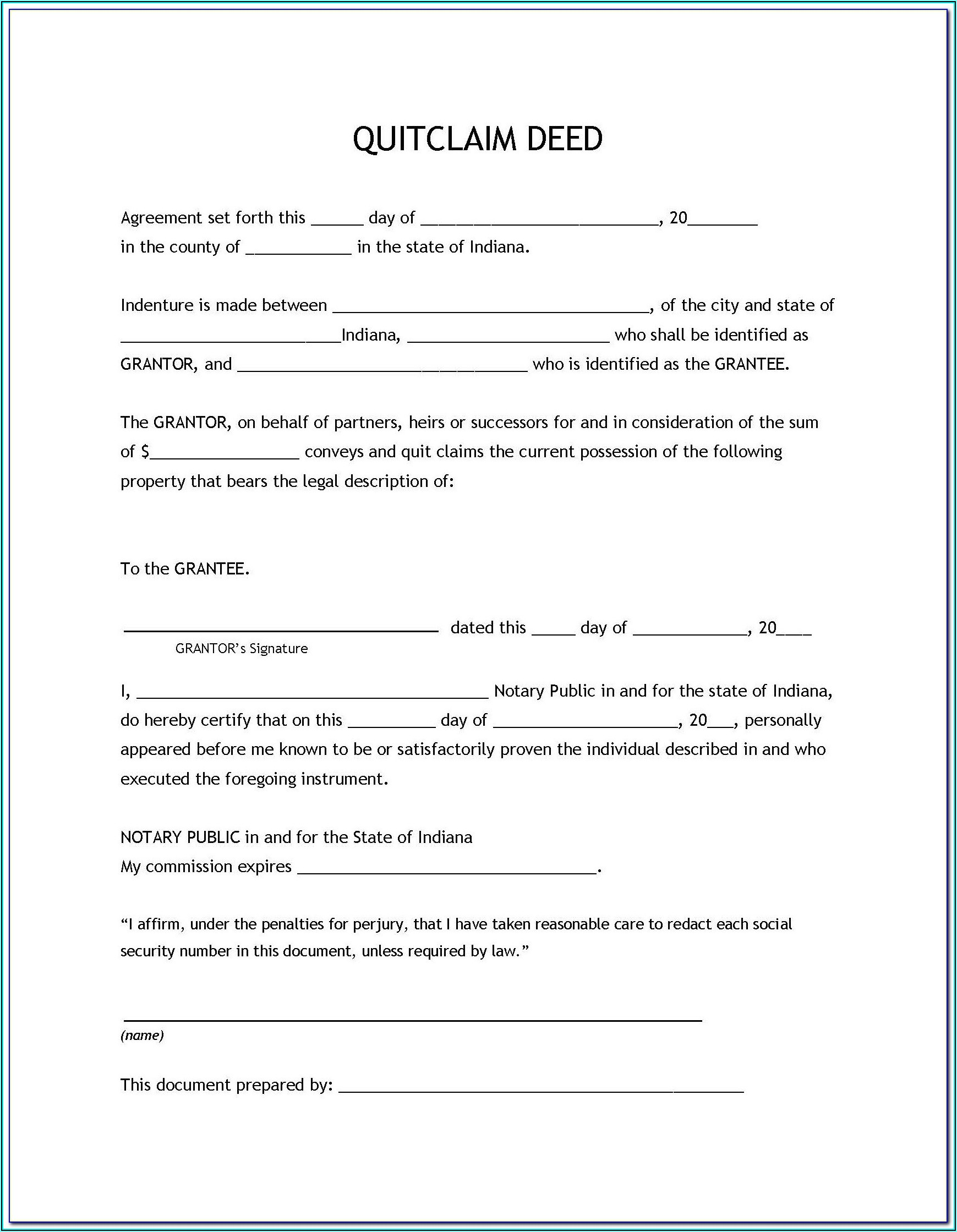 Survivorship Deed Form