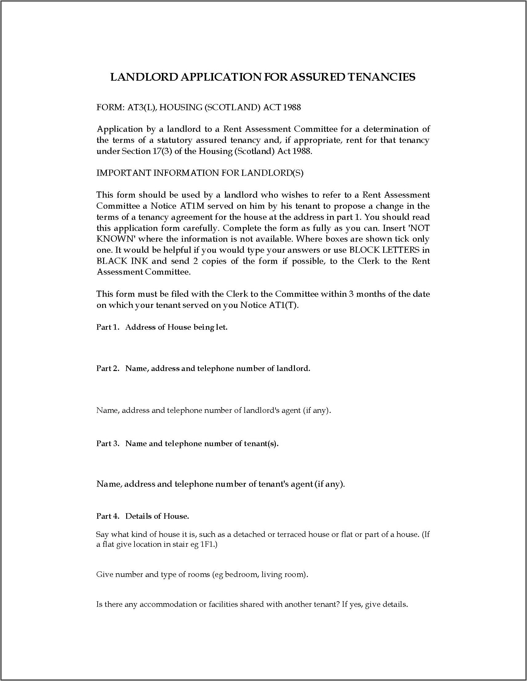 Tenancy Application Form Scotland