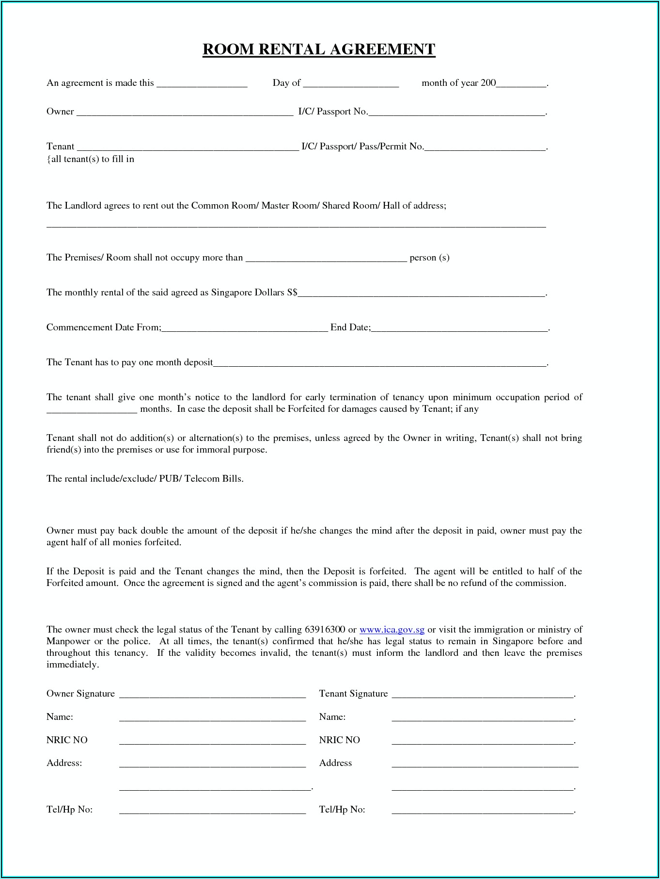 Tenancy Application Form Vic