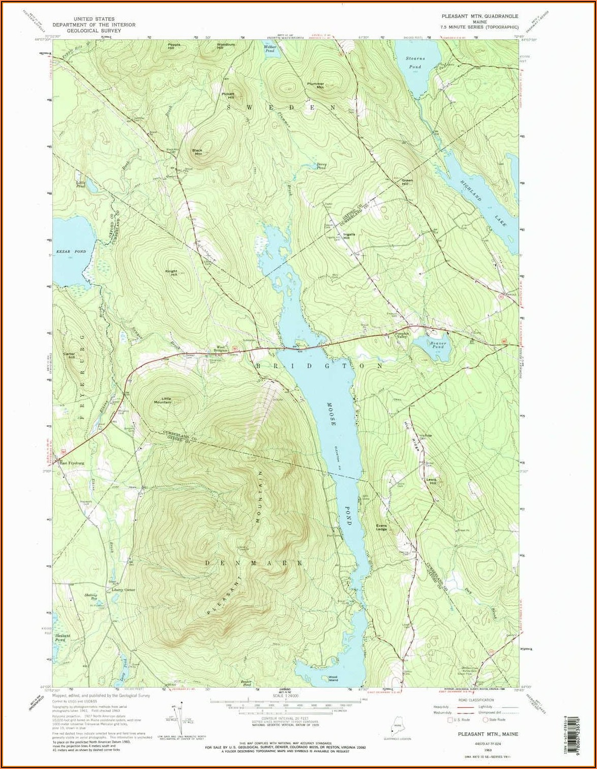 Topographic Map Bridgton Maine