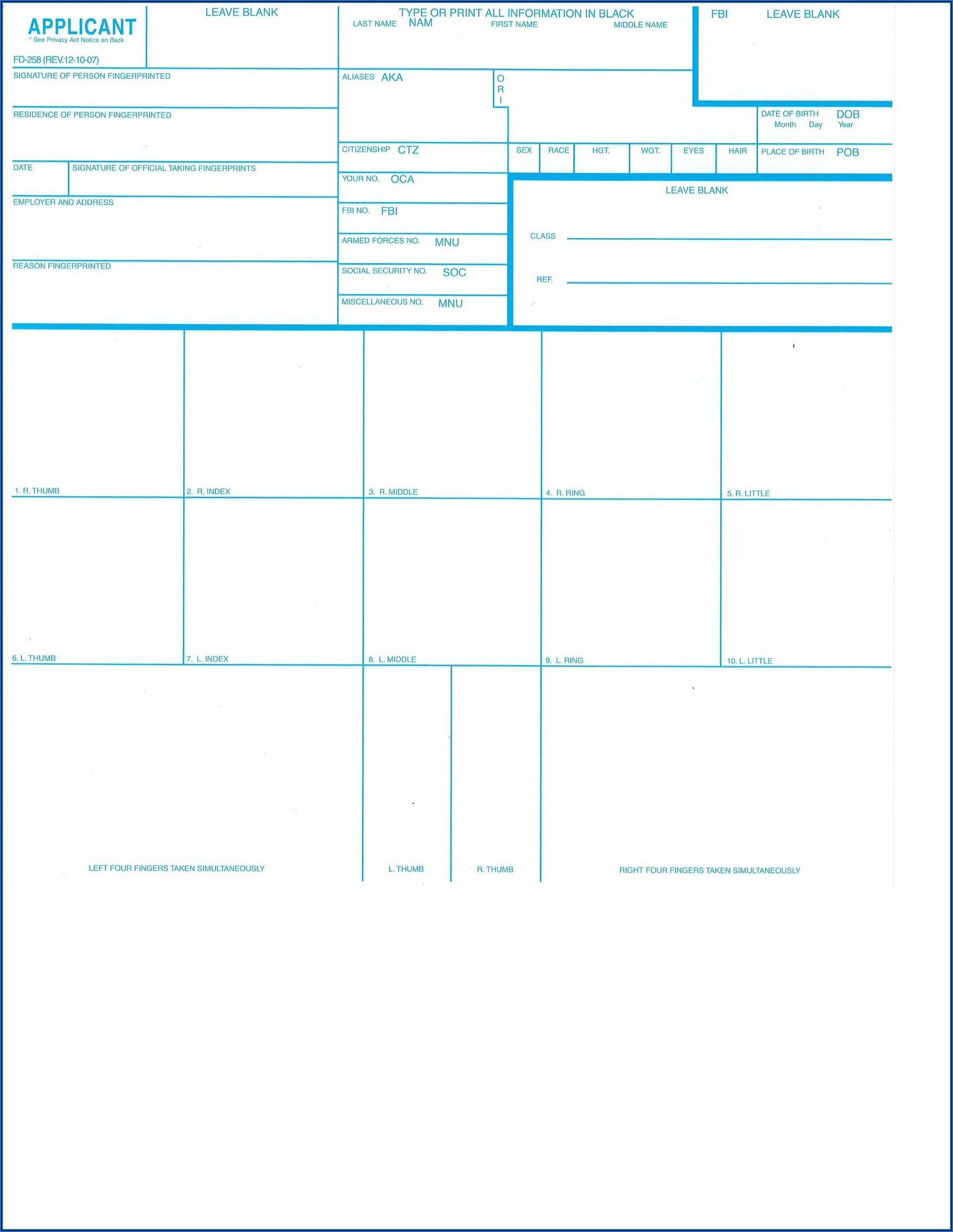 Two Complete Fingerprint Cards (form Fd 258)
