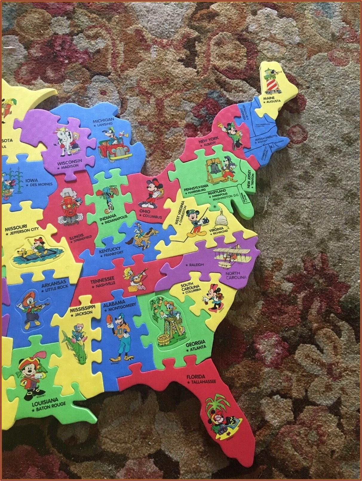 Usa Map Floor Puzzle Foam