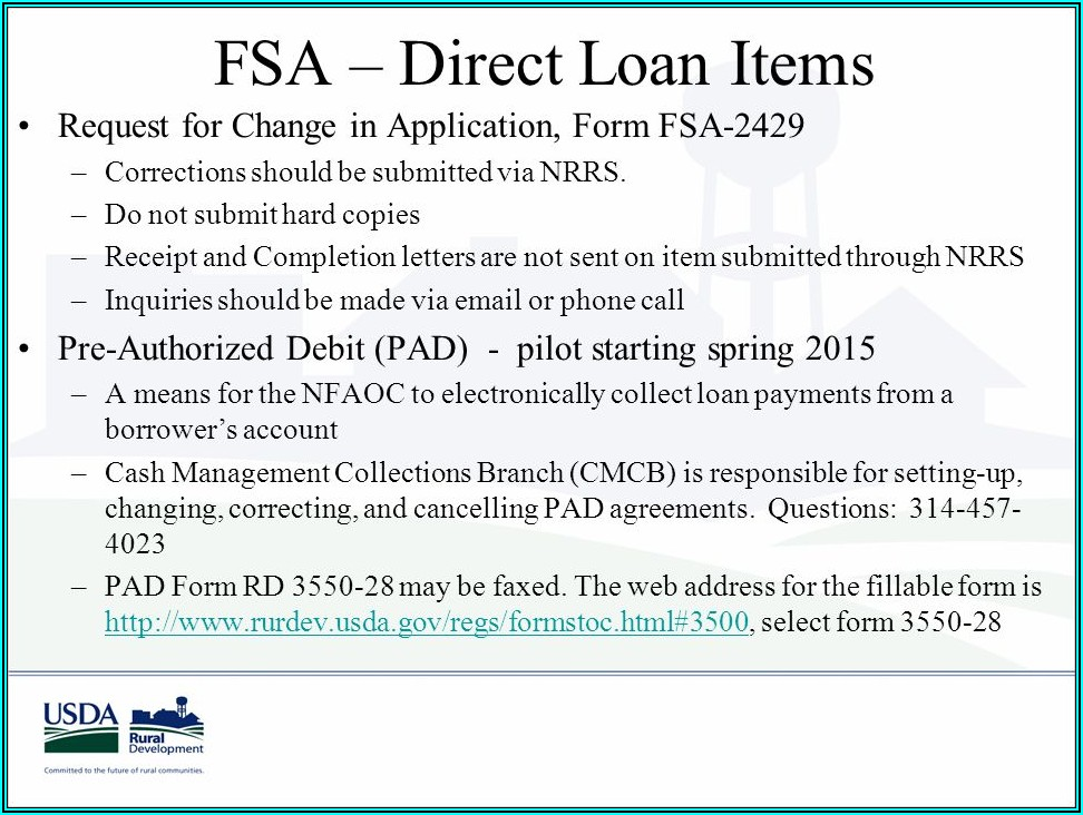 Usda Direct Loan Application Form