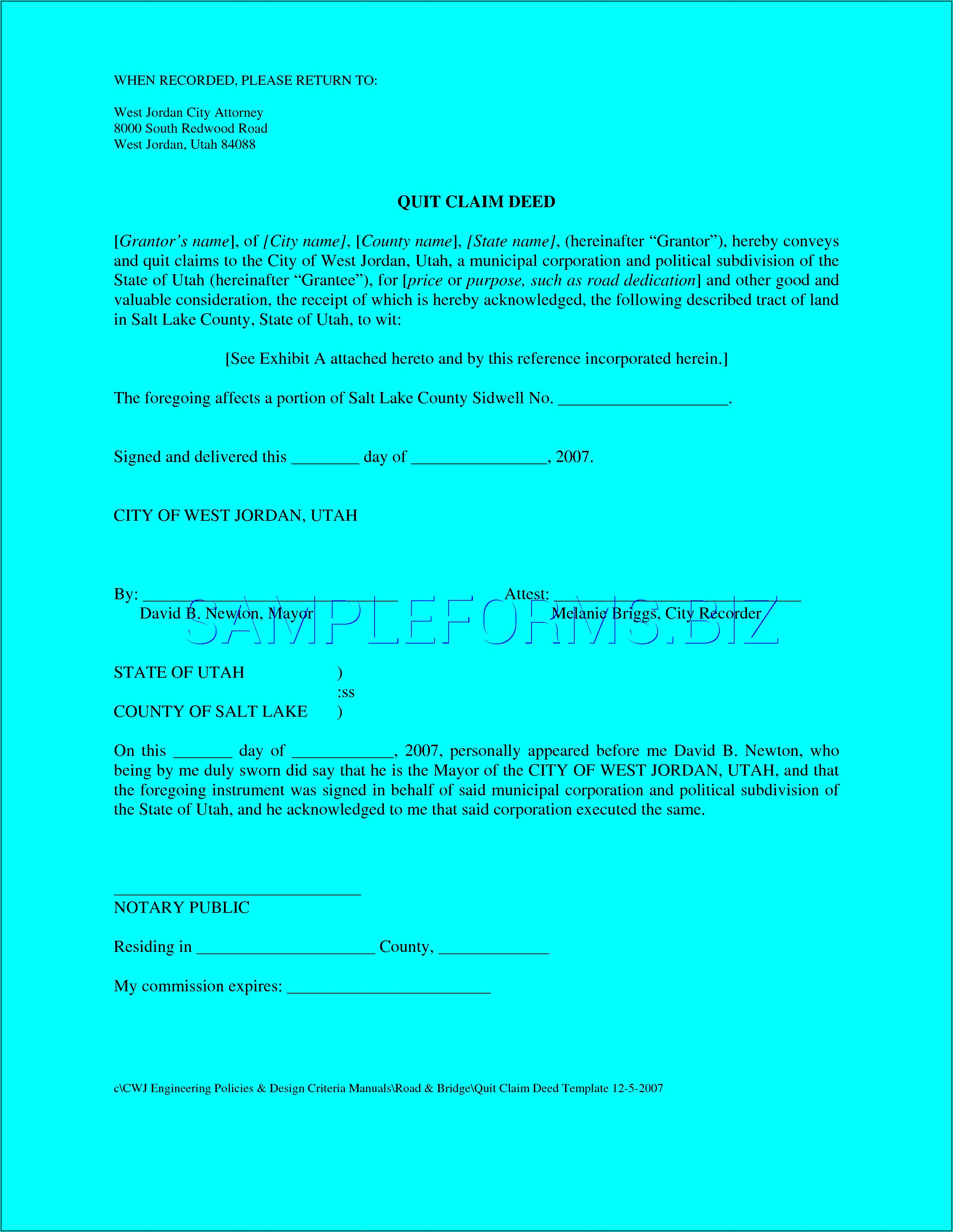 Utah Quit Claim Deed Form Free