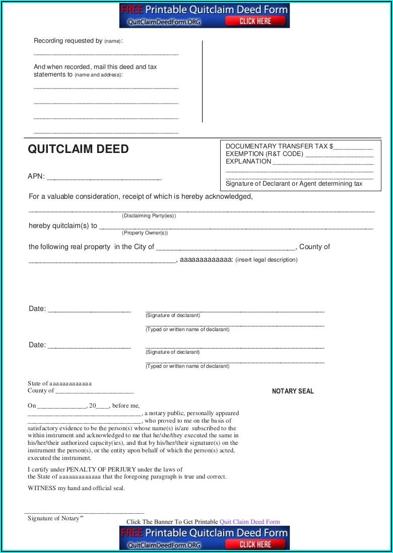 Utah Quit Claim Deed Form