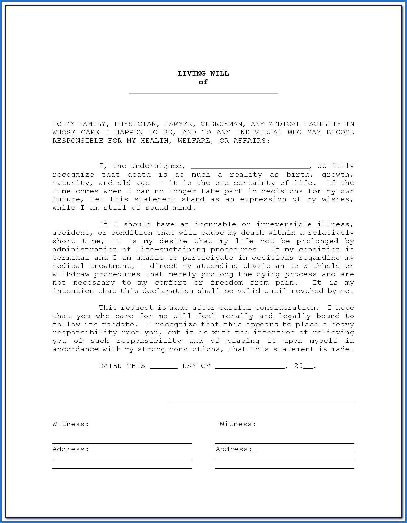 Va Form For Living Will
