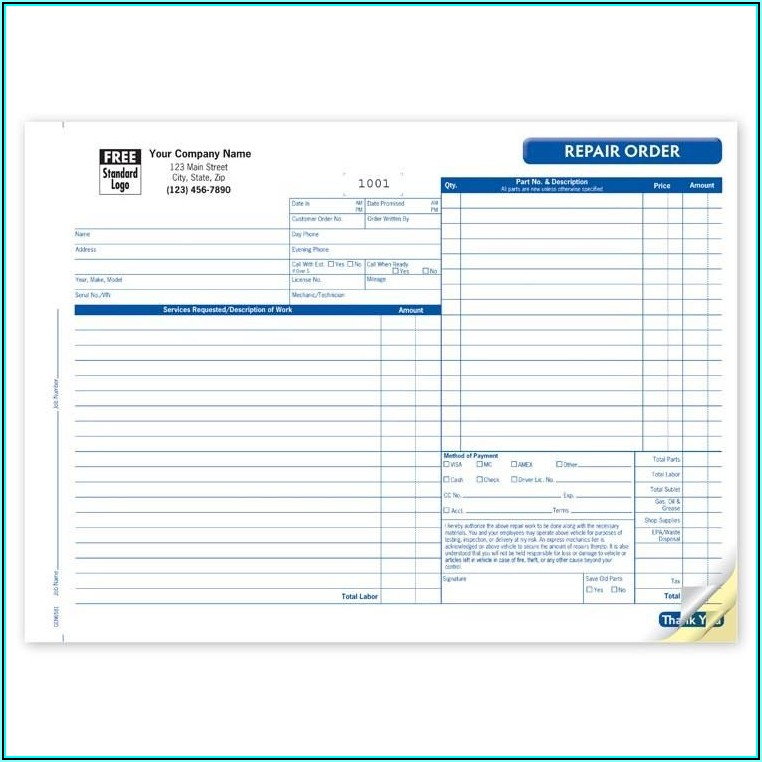 Vehicle Repair Estimate Form Template