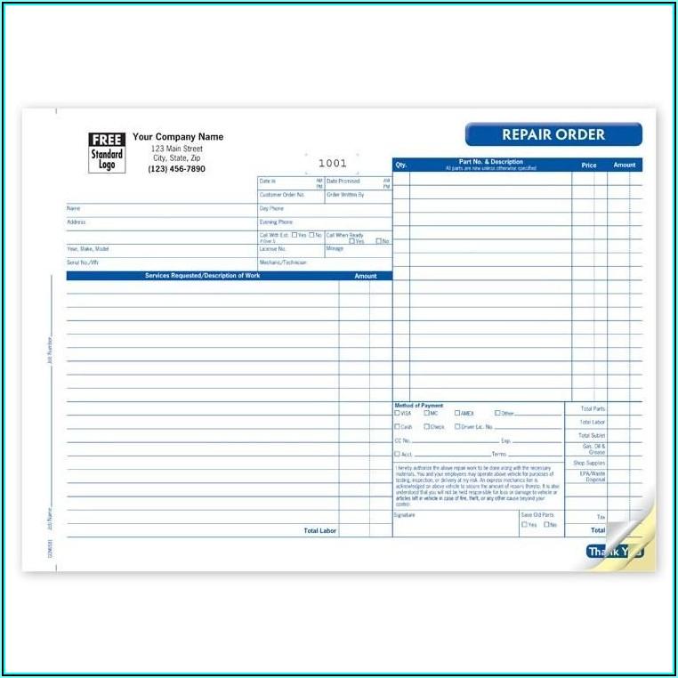 Vehicle Repair Estimate Form Template
