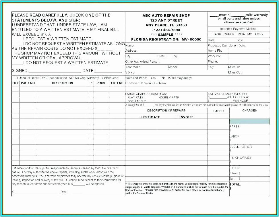 Vehicle Repair Request Form Template