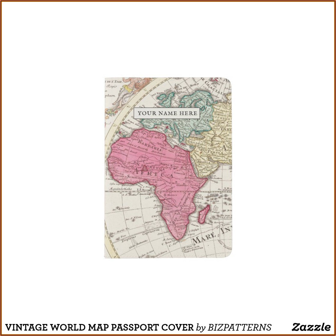 Vintage World Map Passport Cover