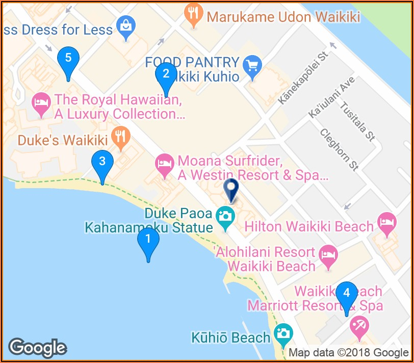 Waikiki Beach Hotels Google Maps