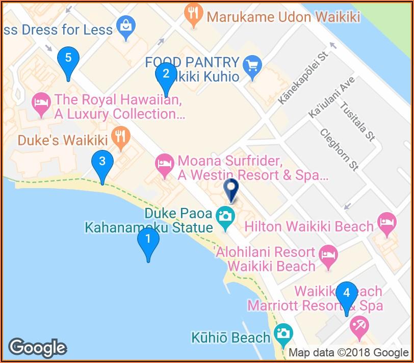 Waikiki Beach Hotels Google Maps