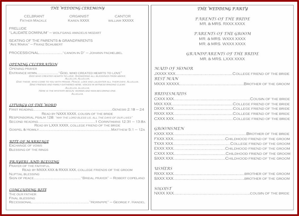 Wedding Mass Booklet Templates