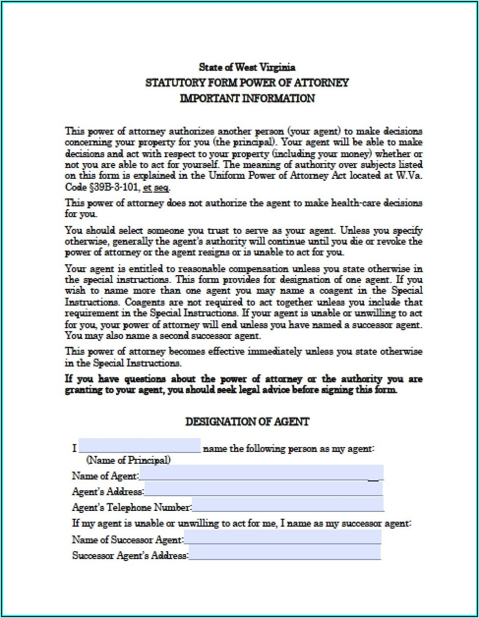 West Virginia Durable Power Of Attorney Form