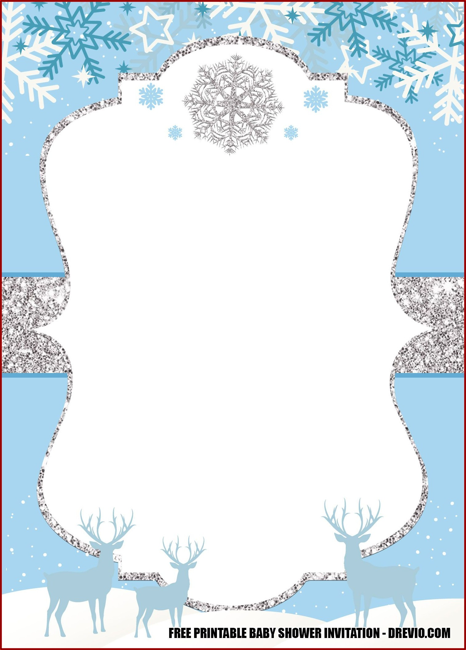 Winter Onederland Invitation Template Free