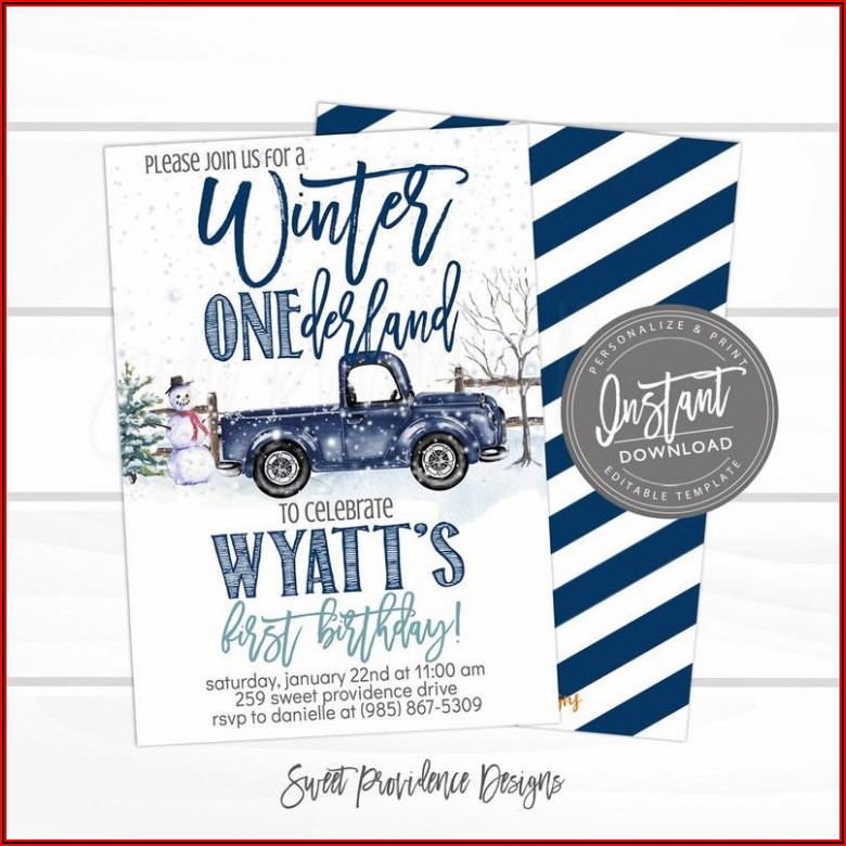 Winter Onederland Invitation Templates