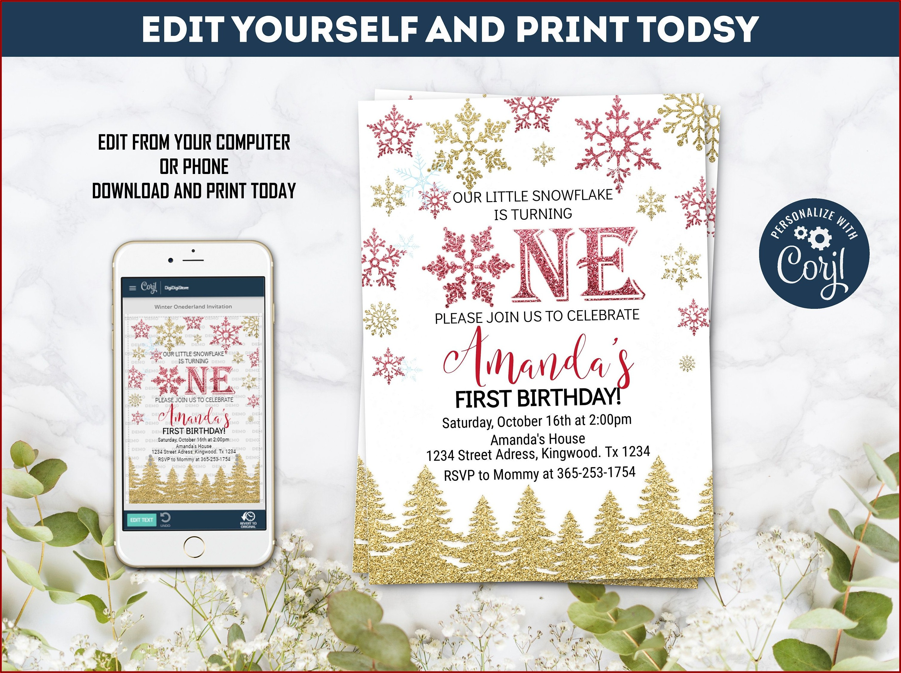 Winter Onederland Party Invitation Template