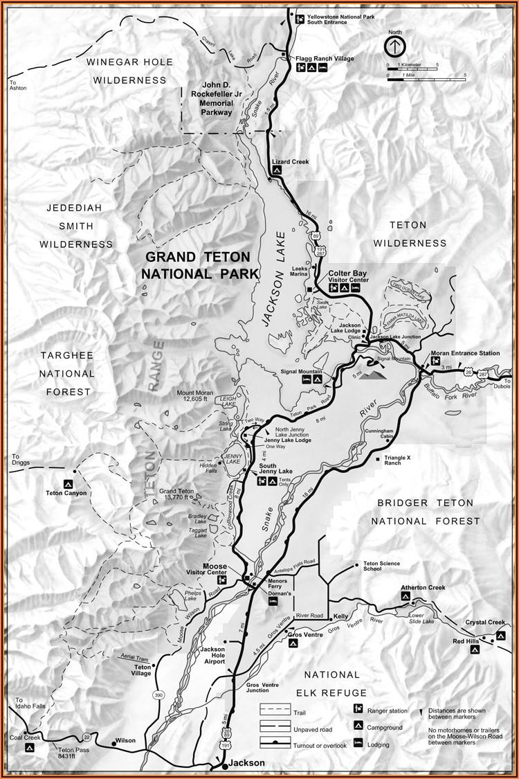 Yellowstone National Park Hotel Map
