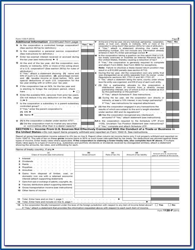 2014 Irs Form 1120 H